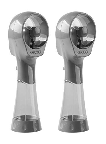 O2COOL 2 Pack Elite Battery Powered Handheld Water Misting Fans (Grey)