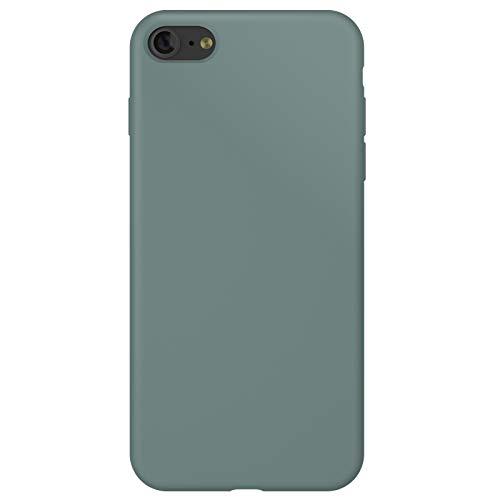 ZhinkArts Funda de silicona para teléfono móvil compatible con Apple iPhone SE (2020) / iPhone 7/8 – 4,7 pulgadas pantalla – Carcasa con forro interior de microfibra – Funda en color verde pino