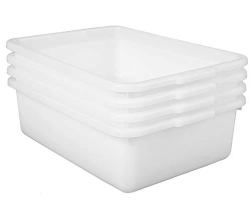 JUJIAJIA Commercial Bus Tubs 4-Pack Plastic Bus BoxWash Basin White Dishpans 8L85qt