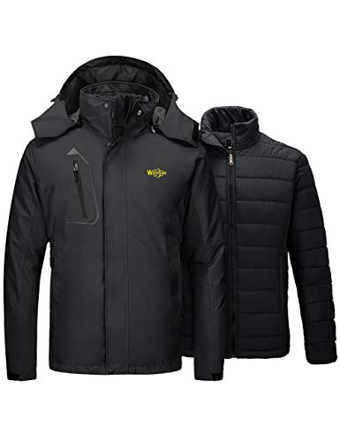 Wantdo Men's Mountain 3 in 1 Ski Jacket Waterproof Winter Snow Coat Black Medium