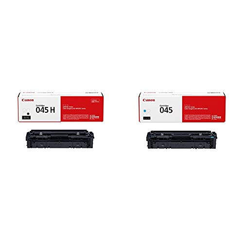 Canon Genuine Toner, Cartridge 045 Black, High Capacity, 1 Pack & Genuine Toner, Cartridge 045 Cyan (1241C001), 1 Pack, for Canon Color imageCLASS MF634Cdw, MF632Cdw, LBP612Cdw Laser Printers