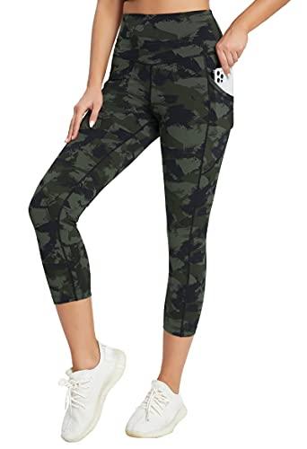 Rrosseyz Capri Leggings for Women Tummy Control High Waist Pants with Pockets for Yoga Running Workout (22Capri Army Green Geometry, X-Small)