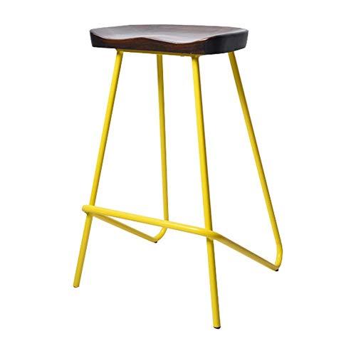 JIEER-C leerstoel barkruk/hoge kruk gang metalen frame draagkracht Eenheid 74cm hoog 2 modellen 6 kleuren (kleur: ZWART, maat: B) A geel