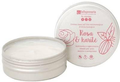 LA SAPONARIA Crème Mains Rose & Beurre de Karité - Soin nourrissant pour les mains rugueuses - Protège la peau - Action apaisante - 60 ml