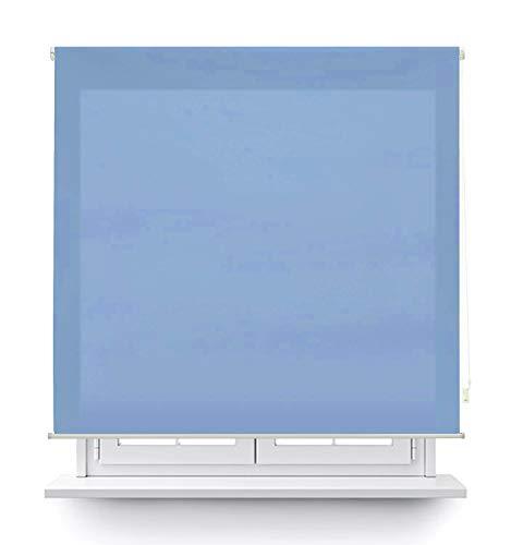 MERCURY TEXTIL Estor Enrollable translúcido Liso (Azul, 135x180cm)