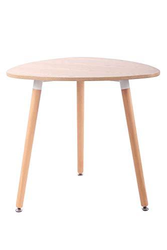 CLP Küchentisch ABENRA I Esstisch Mit MDF Tischplatte I Bistrotisch Mit Buchenholzgestell, Farbe:Natura, Größe:80 cm