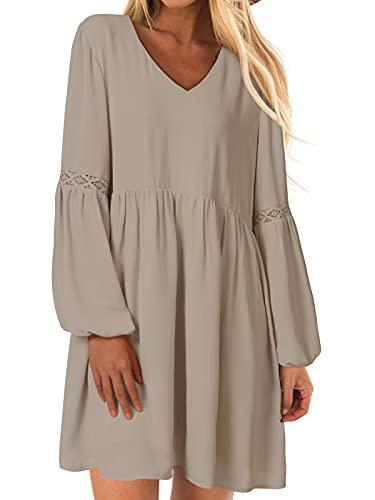YOINS Sexy Kleid Damen Sommerkleid für Damen Babydoll Kleider Brautkleid Tshirt Kleid Rundhals Langarm Minikleid Langes Shirt Lose Tunika Strandkleid Baumwolle-Khaki S