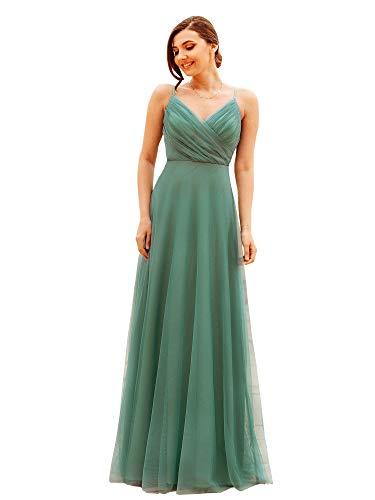 Ever-Pretty Women's Adjustable Spaghetti Strap Elegant V Neck A Line Tulle Long Wedding Guest Dresses Green 16UK
