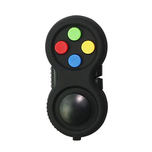 ISAKEN Zappel Controller Stress Reduzierer Spiel Zappel Controller Schwarzes Stress Zappel Pad, Mit 8-Fidget Funktionen Und Lanyard für Stress Abbau und Angst