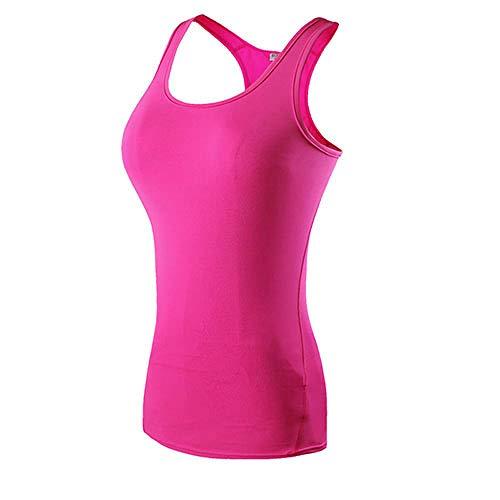 MUZIM Neue Yoga Tops Frauen Sexy Gym Sportswear Weste Fitness Enge Frauenkleidung Ärmelloses Laufhemd Quick Dry White Yoga Tank Top-Pink_XL