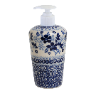 Polish Pottery - Liquid Soap Dispenser - Duet in Blue - The Polish Pottery Outlet