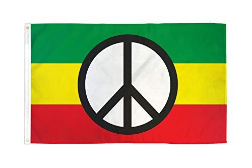 AZ Flag Flagge Frieden Rasta 90 x 60 cm – Flagge Bob Marley 60 x 90 cm – Flaggen