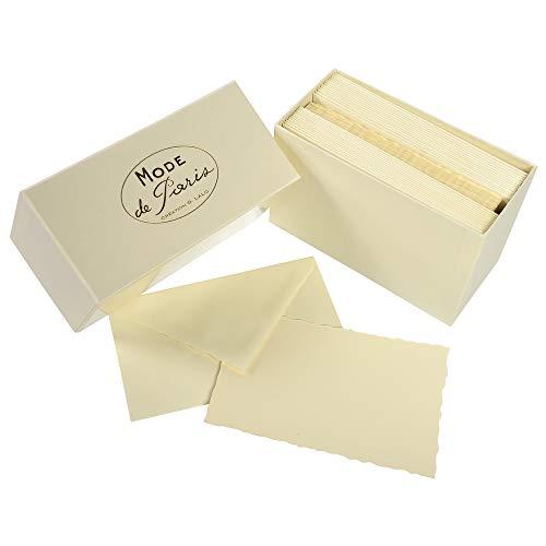 G.Lalo 92316L Karten Geschenkbox Mode de Paris (25% Hadern mit 30 Karten Vergé Papier 300 g, 97 x 152 mm, elfenbein, mit mittelaltericher Vergé Rand, 30 gummierte Umschläge, elfenbein, gefüttert, 100 x 159 mm, 1 Pack)