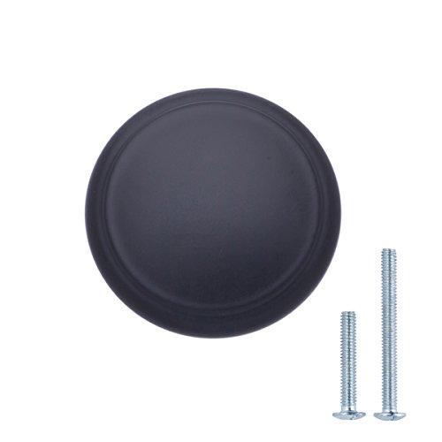 Amazon Basics - Pomo de armario, con diseño de aro superior, moderno, 2,95 cm de diámetro, negro liso - paquete de 25