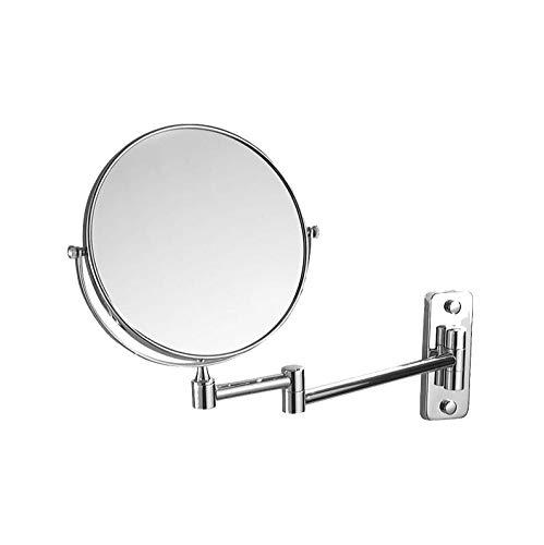 Bath Miroirs muraux grossissants - Bronze Miroirs de Rasage rétractables Double Face pour Douche, grossissement 3 x 3,Silver_6inch