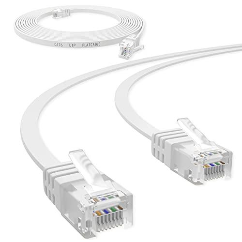 HB Digital Netzwerkkabel LAN Kabel Cabel Flachkabel Slim flach RJ45 Stecker 10m cat 6 weiß Weiss Kupfer Profi U/UTP bis zu 10 Gbit 10.000 Mbit cat. 6 Cat6 RJ45 Port Ethernet Netzwerk Patchcable