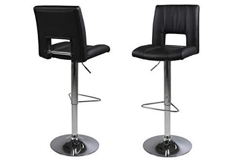 Amazon Brand - Movian Sarnen - Juego de 2 taburetes de bar, 52 x 41,5 x 115 cm (largo x ancho x alto), negro