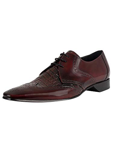 Jeffery West de los Hombres Zapatos Derby de Cuero, Rojo