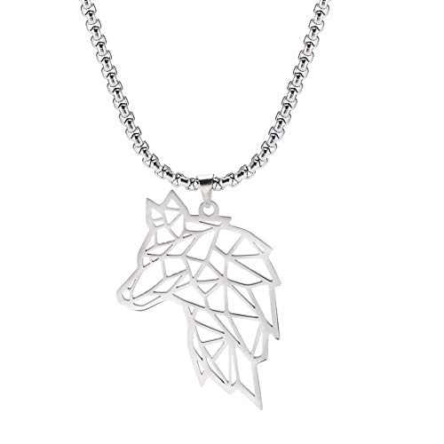 cooltime Stainless Steel Cutout Viking Wolf Pendant Necklace for Unisex 23