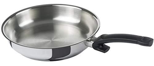 Fissler crispy steelux classic / Edelstahl-Pfanne (Ø 24 cm) unbeschichtete-Steakpfanne, Bratpfanne-induktionsgeeignet, Stielpfanne, ideal zum krossen anbraten, alle Herdarten