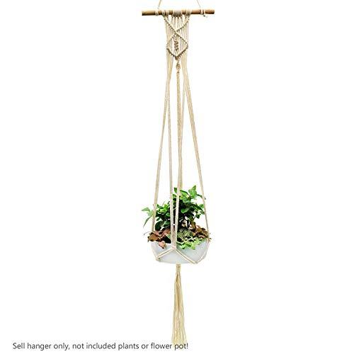 PENVEAT 1pièce macramé Plantes Cintre Crochet 4 Pieds rétro Pot de Fleurs à Suspendre Corde Corde de Support pour Home Garden Décoration de Balcon Décoration Murale, Model K 100cm, Taille Unique