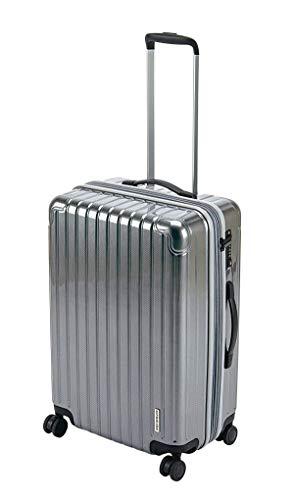 キャプテンスタッグ(CAPTAIN STAG) スーツケース キャリーケース キャリーバッグ 超軽量 TSAロック ダブルホイール 360度回転 静音 ダブルファスナータイプ Mサイズ シルバー パルティール UV-77