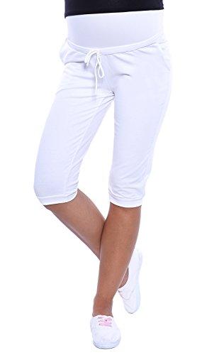 MijaCulture - Umstandsmode/Capri Umstandshose Relaxed Caprihose 4090 (XL / EU42, Weiß)