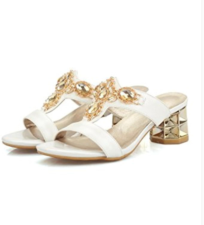 WHW Women's Summer Comfort PU Casual Flat Heel Crystal Sandals,42,White