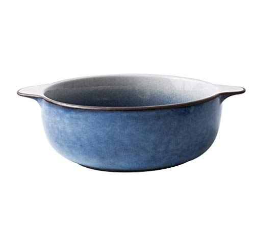 Tazón Tazones Vajilla Tazón de cerámica japonesa, conjunto de vajilla de cerámica grande binaural for el hogar, tazón de sopa, tazón de porcelana, tazón de fideos comerciales [7,5 pulgadas, 24,5 cm *