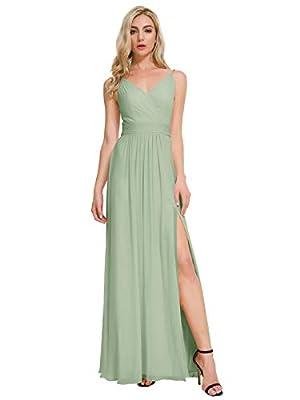 ALICEPUB V-Neck Bridesmaid Dresses Chiffon Long Prom Maxi Dress Formal Evening Gown, Sage Green, US4