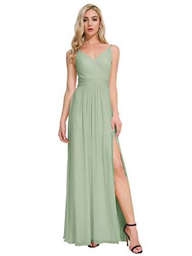 ALICEPUB V-Neck Bridesmaid Dresses Chiffon Long Prom Maxi Dress Formal Evening Gown, Sage Green, US8