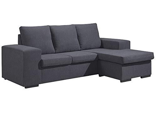 SWEET SOFA Sofá ChaiseLongue Ibiza, sofá 3 plazas con pouff Reversible, tapizado en Elegante Tela Anti Manchas. Fabricación Nacional (Gris)
