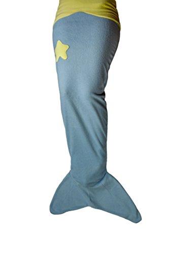 Manta de cola de sirena para niños, de suave forro polar, color azul claro, amarillo. De la marca Ringelsuse
