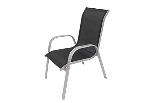 Villana exklusiver Stapelstuhl edlem schwarz, Starkes Aluminiumgestell, Sitzfläche aus hochwertigem Kunststoffgewebe, ca. 75 x 57 x 95 cm, stapelbar, wetterfest, pflegeleicht, modern