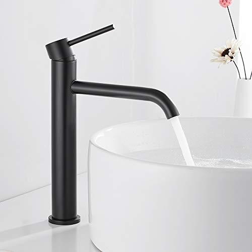 Grifo de lavabo de acero inoxidable, grifo alto, grifo de lavabo, grifo mezclador monomando, color negro mate