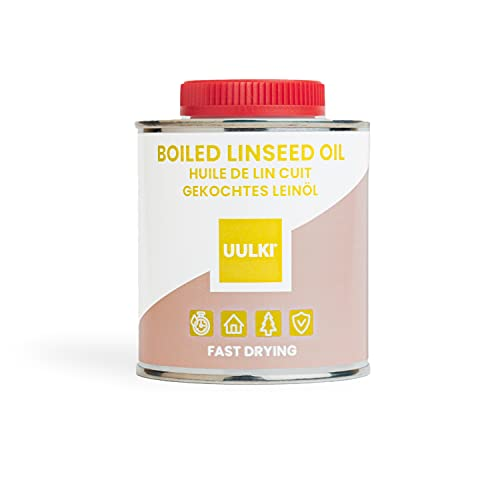 Uulki aceite de linaza cocido hervido natural para madera interior y exterior, meubles, hormigón, encimeras, piedra, metal - de secado rápido (250 ml)