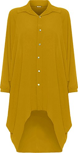 WearAll Damen Übergröße Batwing Hemd Kleid Lang Hülle Tauchen Saum Hi Es Schaltfläche Kragen Damen - Senf - 44-46