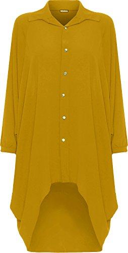 WearAll Damen Übergröße Batwing Hemd Kleid Lang Hülle Tauchen Saum Hi Es Schaltfläche Kragen Damen - Senf - 52-54