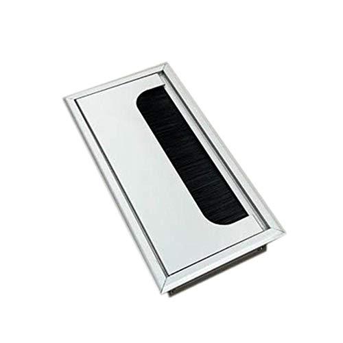 Piner Office Hardware Mat Zwart Rechthoek Draad Kabel Doorvoer Aluminium Vierkante Tafel Bureau Doorvoer met meerdere maten, 160x80mm