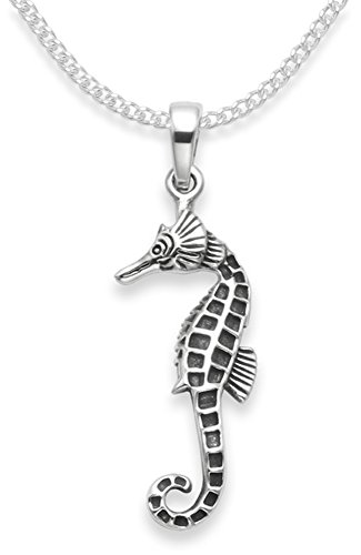 Sterling Silver Seahorse Necklace on 18' Silver chain - SIZE: 25mm x 7mm. Oxidised (antiqued) finish. Gift Boxed