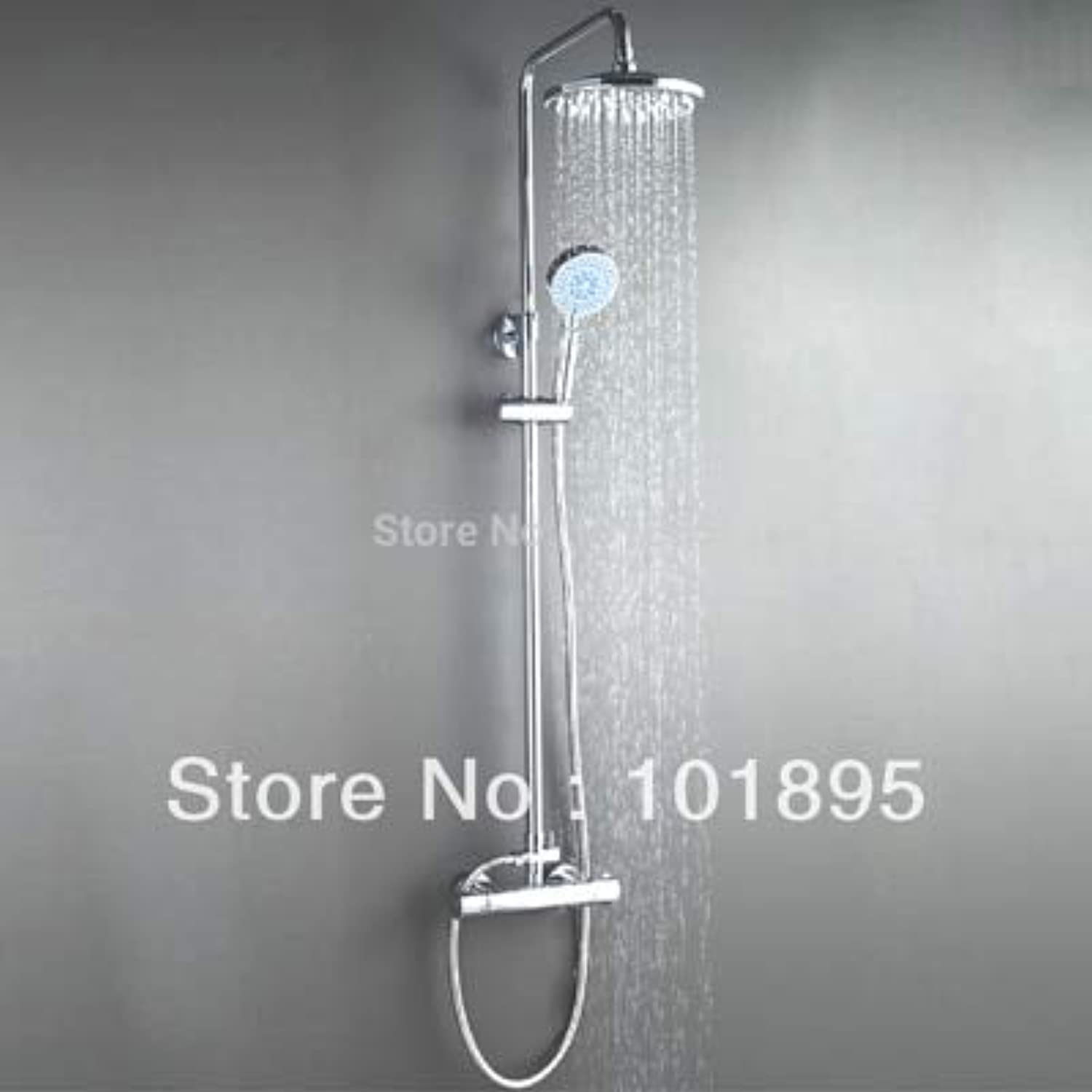 Retail - Luxury Brass Shower Set with Thermostatic Shower Mixer, Chrome Finish, Overhead Rain Shower, Free Shipping X9026SS2,Light grau