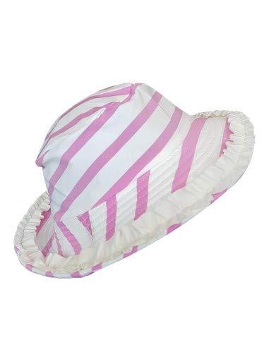 MayoParasol-Sombrero UV para bebé y niña, diseño de rayas rosa y blanco con volante. multicolor 0-6 Meses
