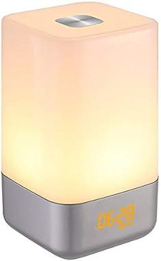 Réveil Lumiere SOLMORE Lampe de Réveil Lampe de Chevet Veilleuse LED Horloge USB Rechargeable Sunrise Simulation RGB Multicol