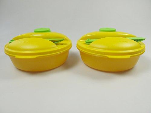 TUPPERWARE To Go Salat&Go 1,0L (2) gelb grün Picknick Behälter+Besteck 27293