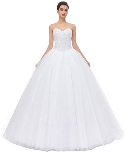 Likedpage Women's Ball Gown Bridal Wedding Dresses (US24W, White)