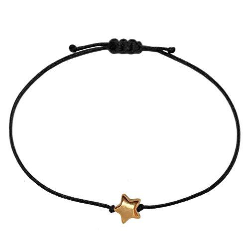 Selfmade Jewelry ® Stern Armband/Glücksbringer Armkettchen mit Sternchen Schmuckstück Damen Mädchen Frauen handmade Größenverstellbares Makramee Armbändchen (Rosegold)