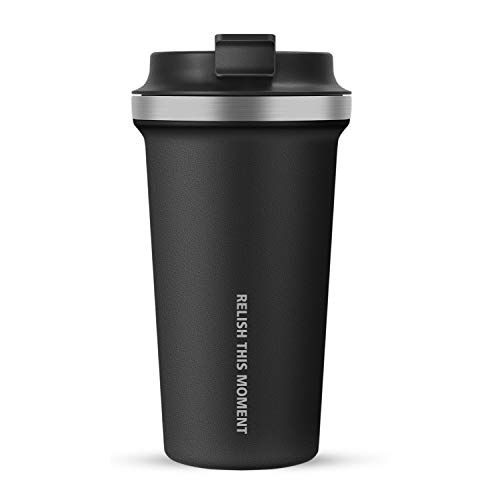 Splend Kaffeebecher To Go Becher, Isolierbecher Tasse Edelstahl Doppelwandig & Vakuumisoliert Becher Reise Becher für Kaffee oder Tee, 100% Auslaufsicher Autobecher Travel Mug, Schwarz