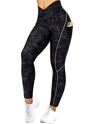 SUUKSESS Women Reflective High Waisted Running Leggings with Pockets Cross Waist Yoga Pants (Camouflage, M)