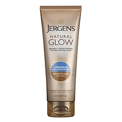 Jergens Natural Glow +Firming Self Tanner, Sunless Tanner for Medium to Tan Skin Tone, Anti Cellulite Firming Body Lotion, for Natural-Looking Tan, 7.5 Ounce (Packaging May Vary)