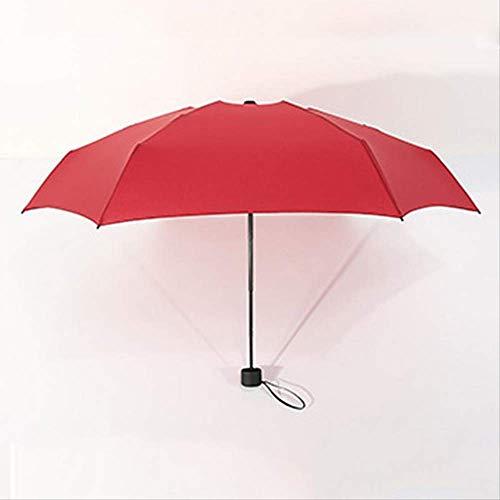 ZPF ParaguasMini Bolsillo Umbrella Mujeres UV Pequeños Paraguas Parasol Anti-UV Impermeable Portátil Ultraligero ViajesRojo